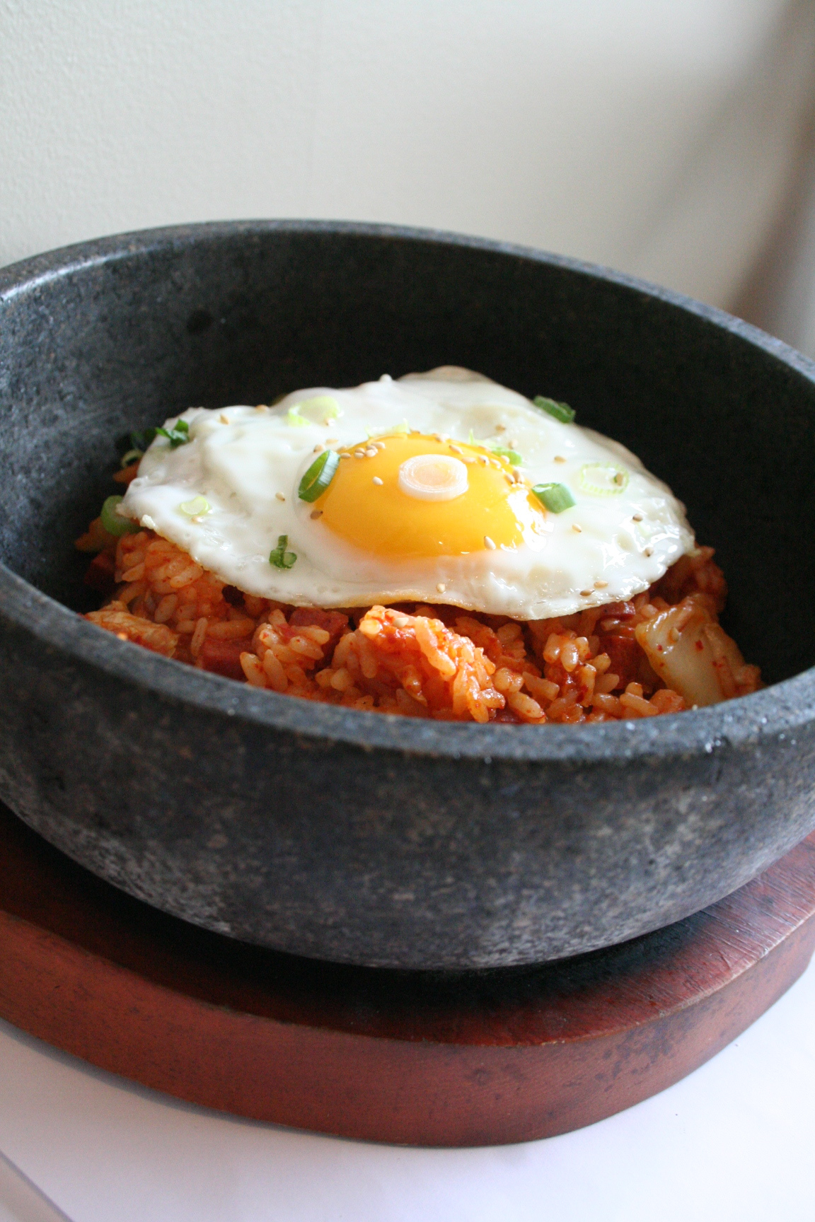 Kim Chee Fried Rice served in Stone Bowl