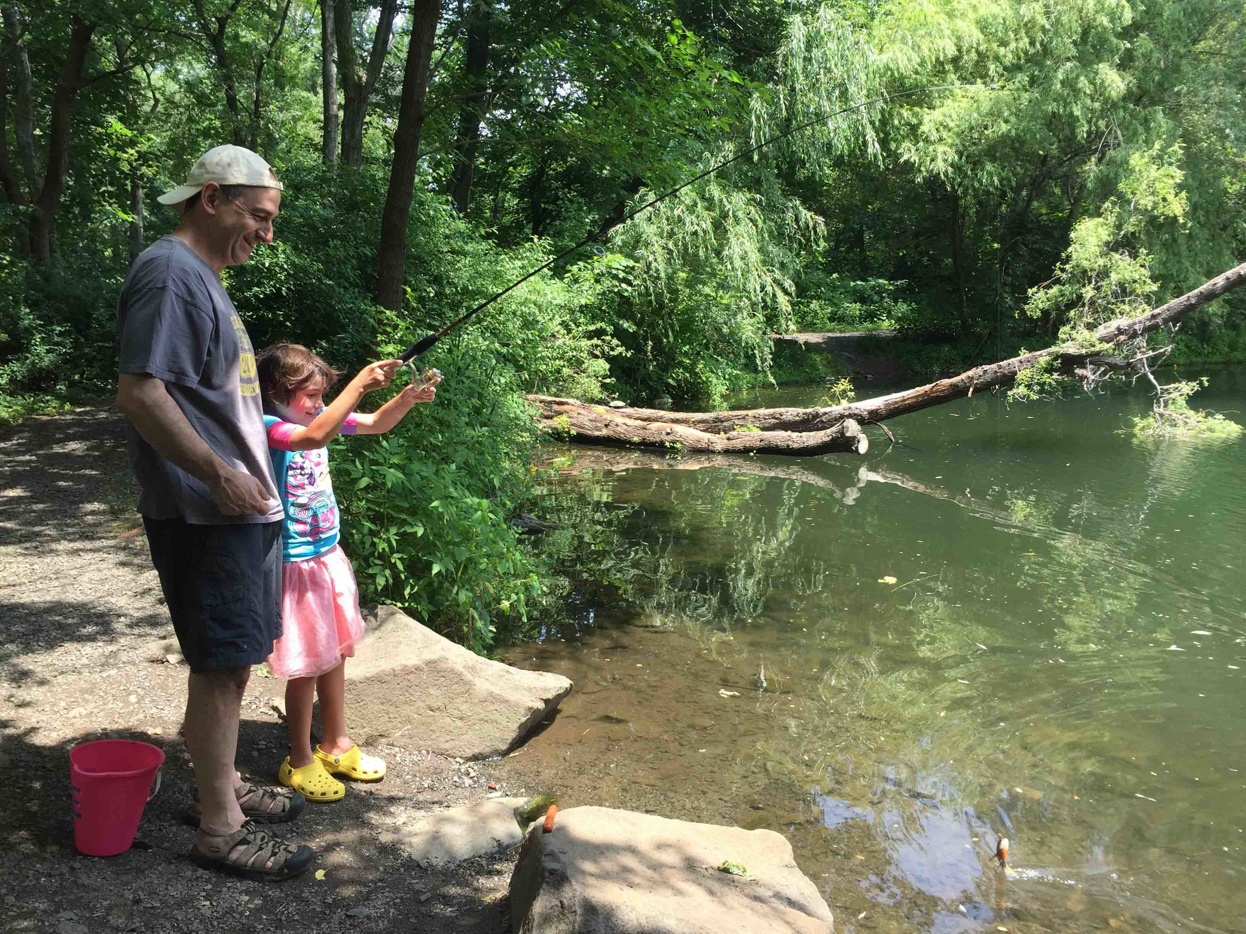 Last summer my husband taught my daughter to fish at the arboretum's spring fed pond which is stocked annually with fish.