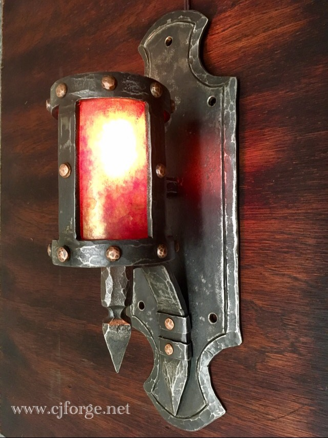 Electric, featuring chiseled steel, hammered copper rivets, amber mica shade. Mounting hardware not shown.