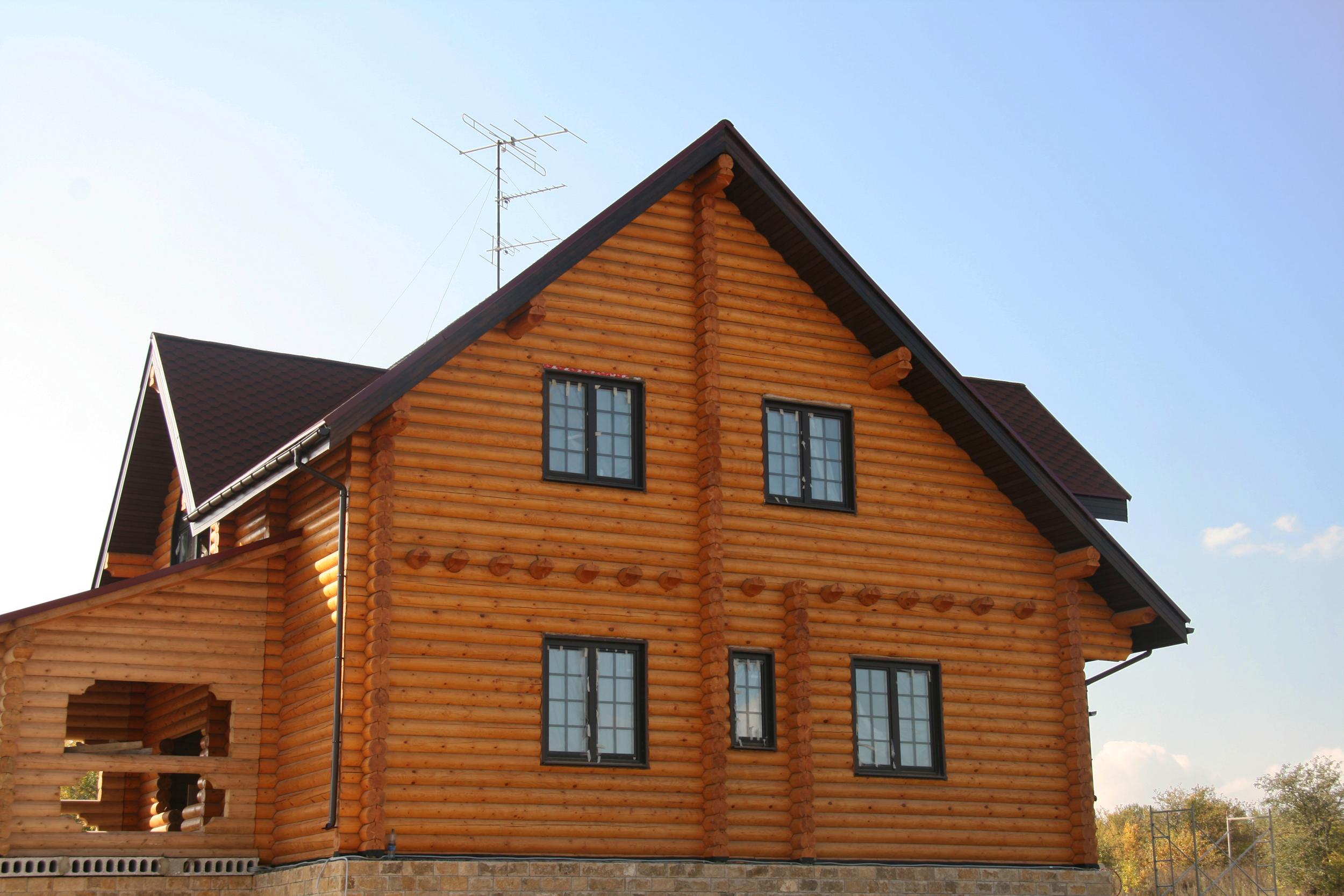 Custom Build Modern Green Log House.jpg