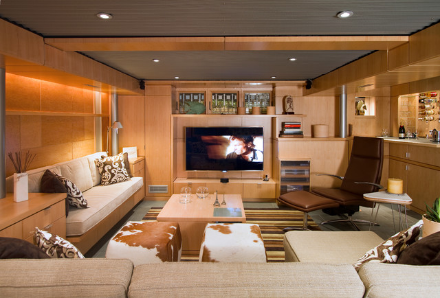 Basement Remodel with Entertainment Centre by Princeton Design Collaborative ,Architects & Designers,(Photo: houzz.com)