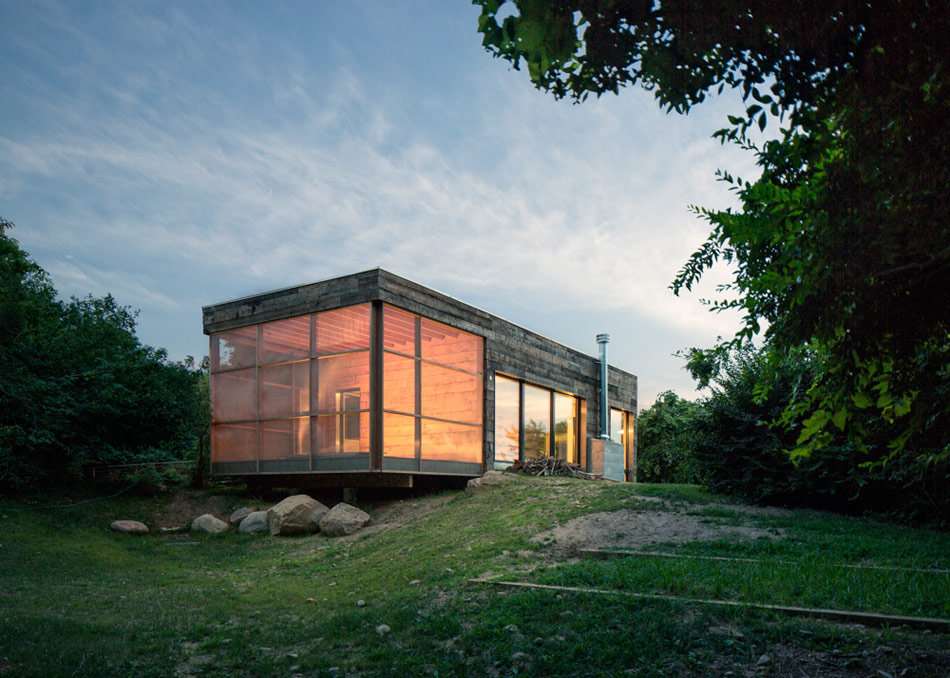 The Passive House art studio, Orient New York, Ryall Porter Sheridan Architects, 2012. The architect convinced the client to build thier new art studio as a Passive House while the firm renovated the existing 1970's home.