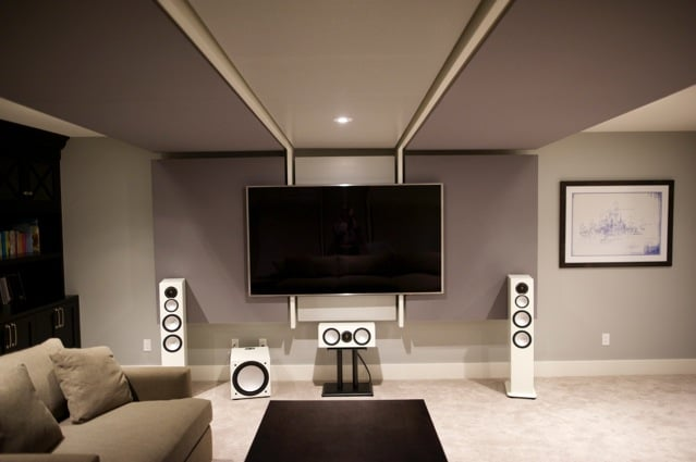 Home theatre / family room professionally designed WSDG sound engineering studio and build by Harmony Home Projects Inc.