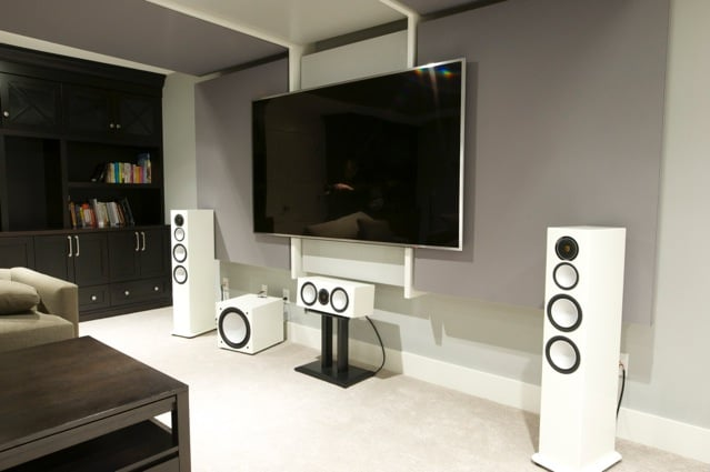 Home theatre room - home theatre / family room  with wall and ceiling sound absorbing panels