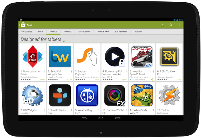 """Designed for Tablets"" section of the Google Play Store."