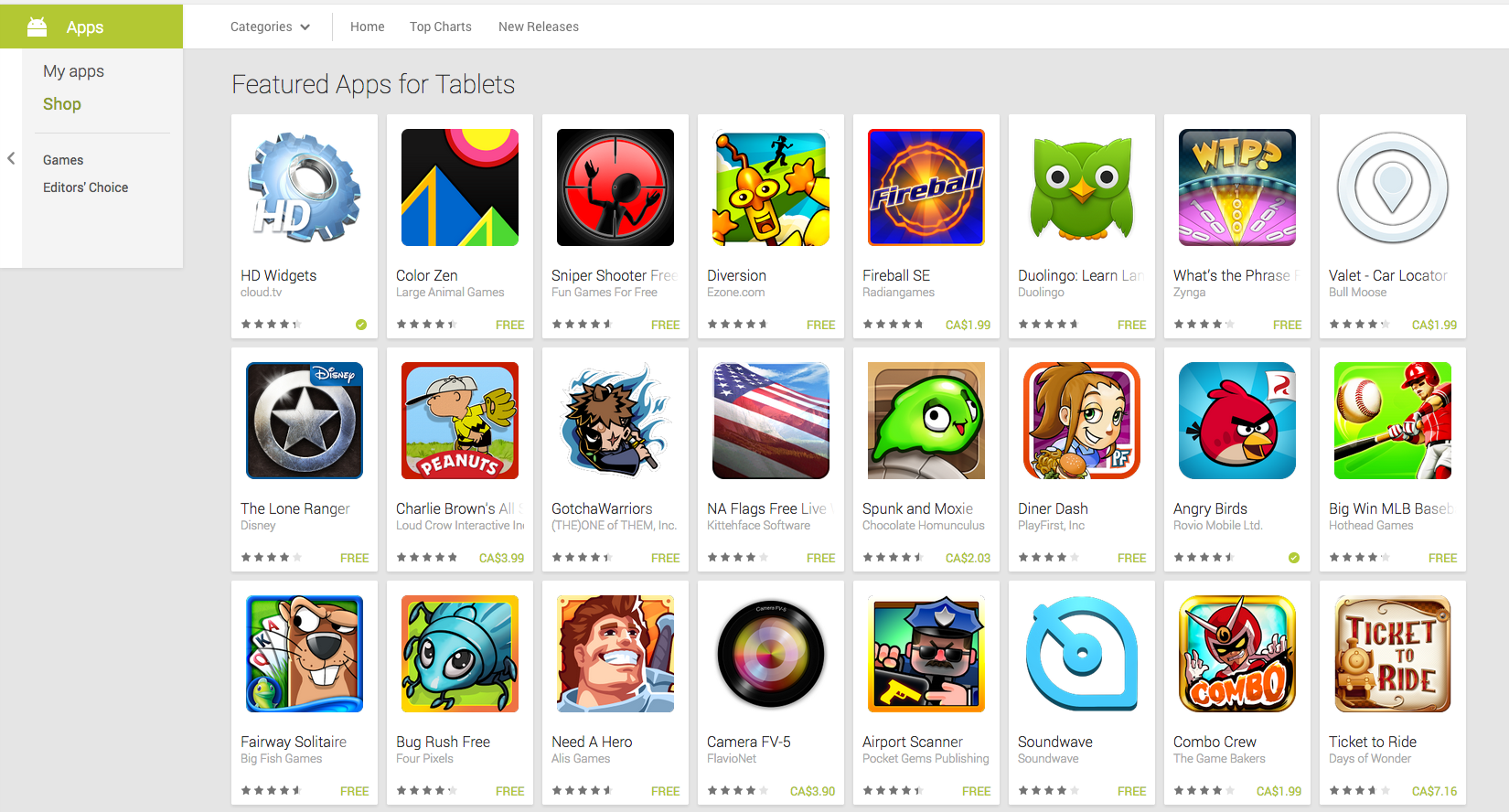Tablet apps are also highlighted on the Play Store web interface.