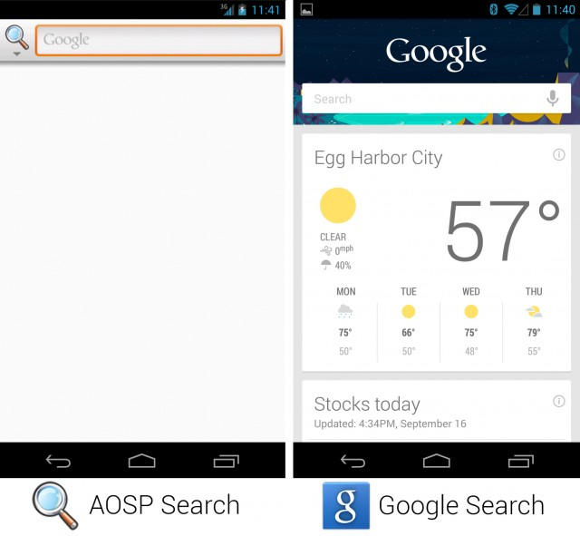 Android AOPS (left) vs Google's Android 4.3 (right): image courtesy of ArsTechnica.