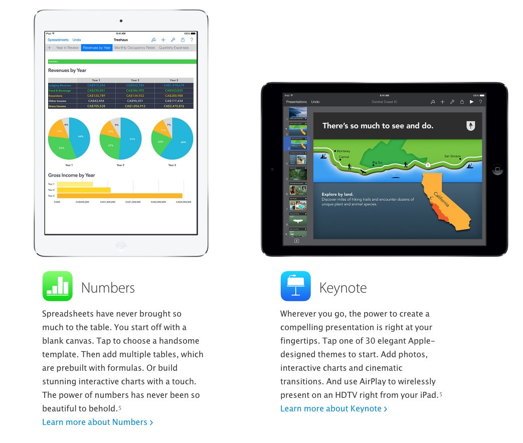 Apple iWork is now free with all new Macs and iOS devices. A pretty sweet bundle. Image courtesy of Apple.