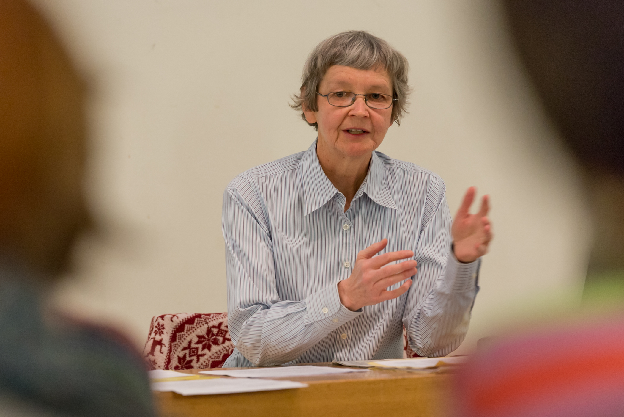 Kathrin Pope, of Wycliffe Switzerland, leads a shorter version of the German for Refugees course at the Gellertkirche, in Basel, Switzerland. Kathrin's mother tongue is Swiss German [gsw]. The German for Refugees course is a train-the-trainer course designed to equip Swiss to teach their language to recently arriving refugees.