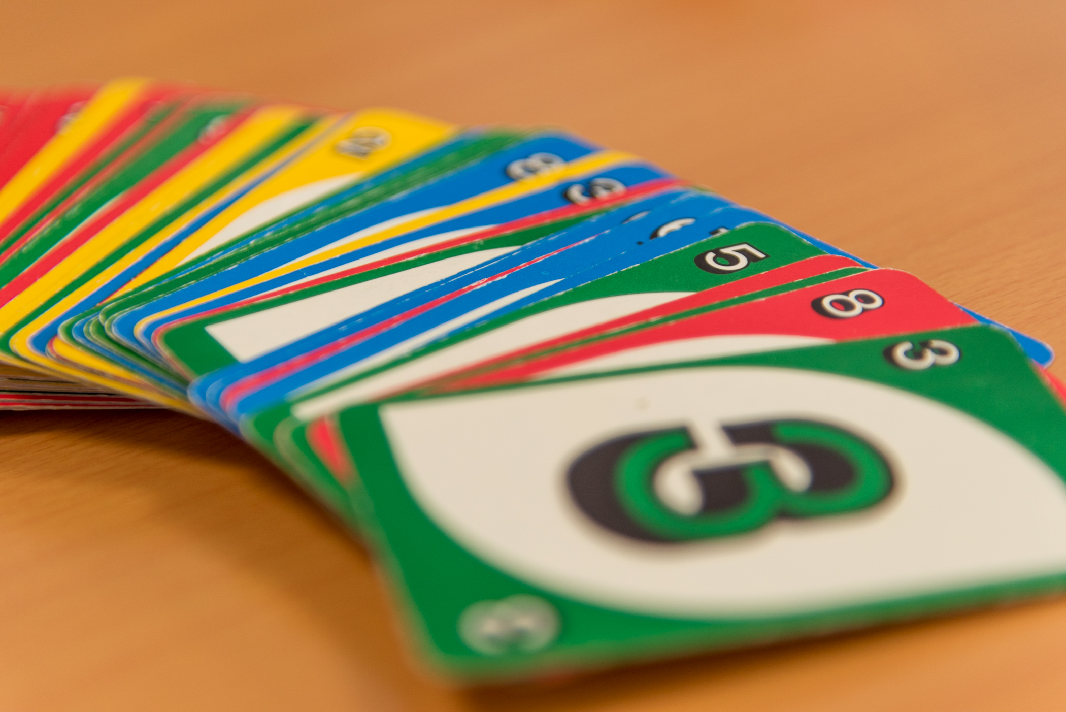 Children's card games are used as training tools and props in the German for Refugees course at the Wycliffe Germany offices in Holzhausen, Germany. Participants use them in language games intended to teach both numbers and colors simultaneously. The German for Refugees course is a train-the-trainer course designed to equip Germans to teach their language to recently arriving refugees.
