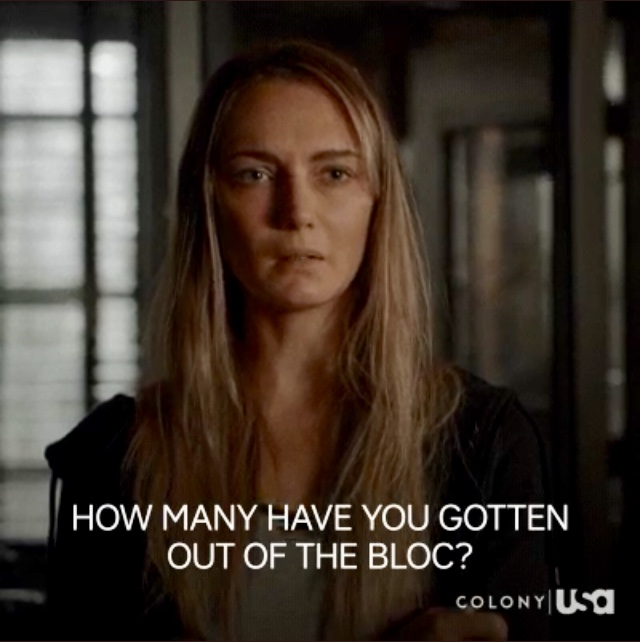 Hannah Levien as Claire in Colony Season 3, episode 2 'Puzzle Man'
