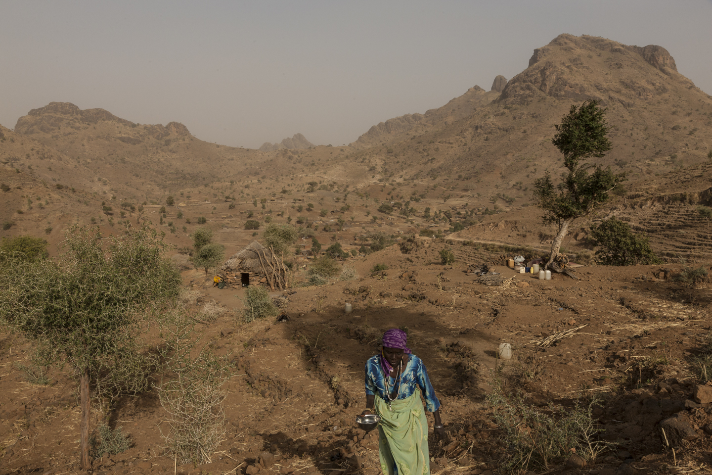After fleeing a ground attack on the town of Golo, women and their children live under tress on the side of a mountain outside of Kone in Central Darfur, Sudan, February 28, 2015.