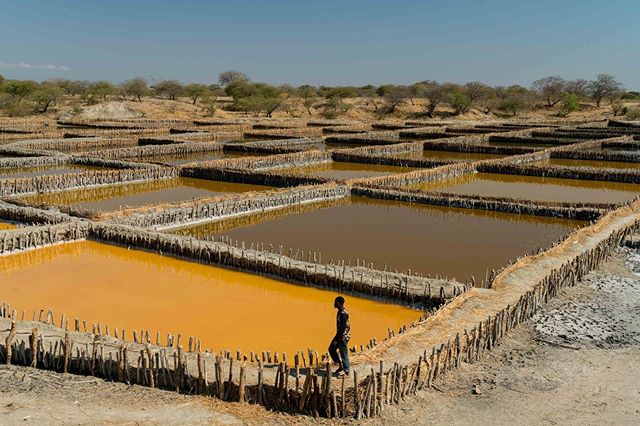 A man walks past the divided area where people produce salt from a pond in the village of Itumbula, Tanzania, July 5, 2019.  On the hunt to photograph, locate, and extract helium - a colorless, odorless gas, that if not tightly contained escapes not only its container but also Earth's atmosphere. Some images of the process in southern #Tanzania for @businessweek #earth #air #sky #water #gas #elements #man #Africa #salt #photo #photographer #photojournalist #neverstopexploring #photojournalism #adrianeohanesian