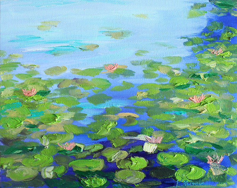 """Nymphaea, 8""""x10"""" oil on canvas. 2018."""