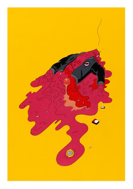 Stefan Glerum  Occupational Hazards #3  ink and acrylic on artist paper 29,7 x 42 cm  Inquire