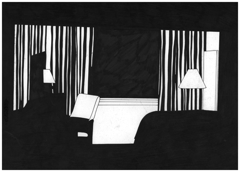 Siard Bijkersma  Room Two - The American Soundstrack  pen on paper 29,7 x 21 cm   Inquire