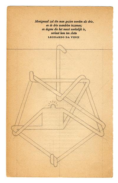 Daan Botlek  Drie wandelen tezamen  Pencil on book page   Inquire