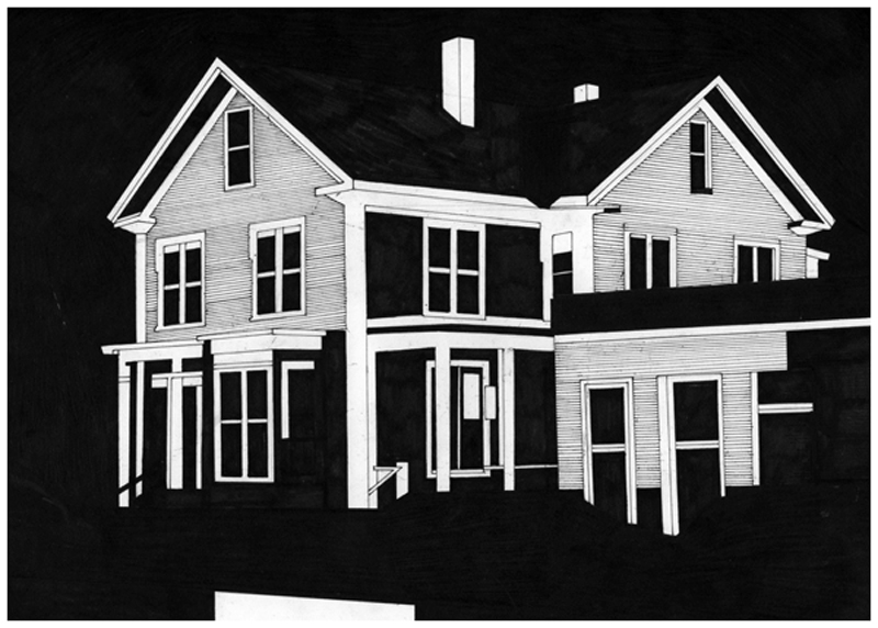 Siard Bijkersma  House 5 - The American Soundtrack  pen on paper 29,7 x 21 cm    Sold
