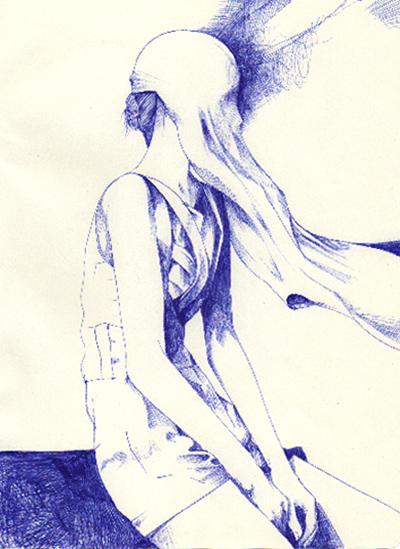 David Bray  Blanket 2  biro on paper 19 x 25 cm   Inquire