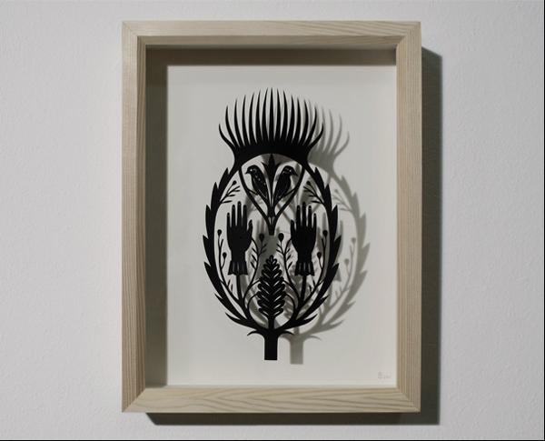 Graça Brohm  The Quarrel Between The Snowbunting And The Woodpecker  handmade papercut   Inquire