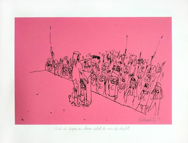 Wayne Horse  'Mach Die Augen Zu, Dann Siehst Du Was Du Darfst' IV   SIlkscreen (edition 25) 50 x 40 cm   € 150,-   Inquire