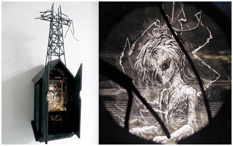 Daniel van Nes      FLYBOY  Illuminated engraving 24cm x 20cm x 70cm   €  2.250
