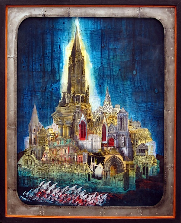 David Hochbaum CITY IN THE SEA Carbon transfer acrylic and wax 55,9cm x 71cm € 2.450