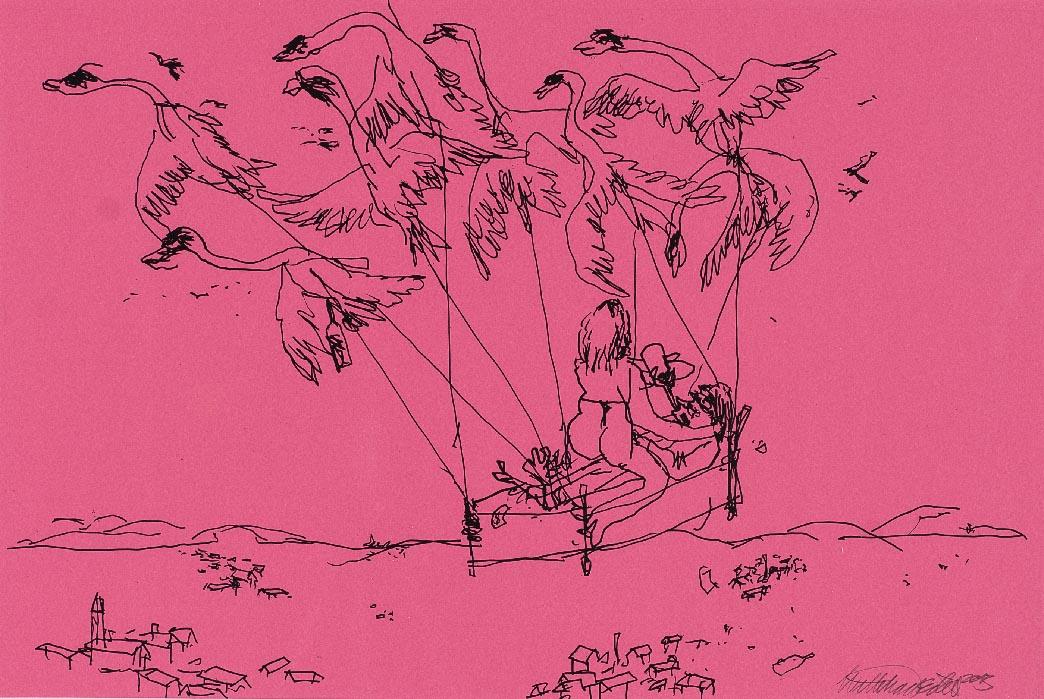 Wayne Horse   'Mach die Augen zu, dann siehst Du was Du darfst' I  pen on paper 65 x 48 cm