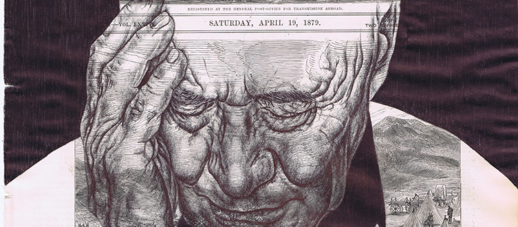 detail of  'History Lessons (firewood)'   -  Mark Powell, bic biro pen on antique newspaper