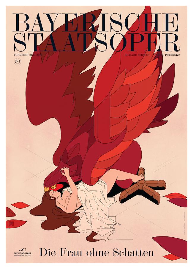 Premiereposter for the National Opera of Munich / Bayerische Staatsoper for die Frau ohne Schatten.   Graphic design by  Bureau Mirko Borsche
