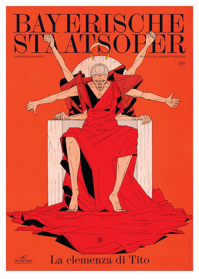 Premiereposter for the National Opera of Munich / Bayerische Staatsoper for La clemenza di Tito.   Graphic design by  Bureau Mirko Borsche