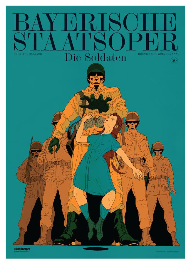 Premiereposter for the National Opera of Munich / Bayerische Staatsoper for Die Soldaten.   Graphic design by  Bureau Mirko Borsche