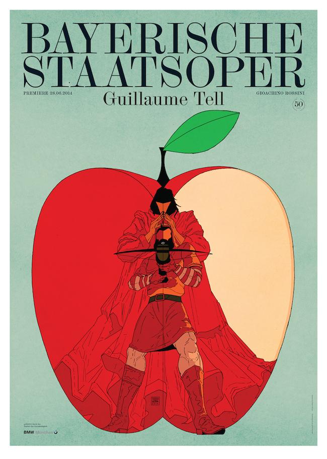Premiereposter for the National Opera of Munich / Bayerische Staatsoper for Guillaume Tell.   Graphic design by  Bureau Mirko Borsche
