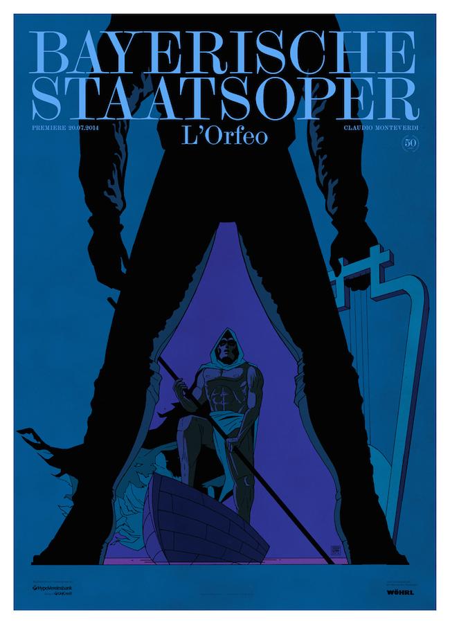 Premiereposter for the National Opera of Munich / Bayerische Staatsoper for L'Orfeo.   Graphic design by  Bureau Mirko Borsche