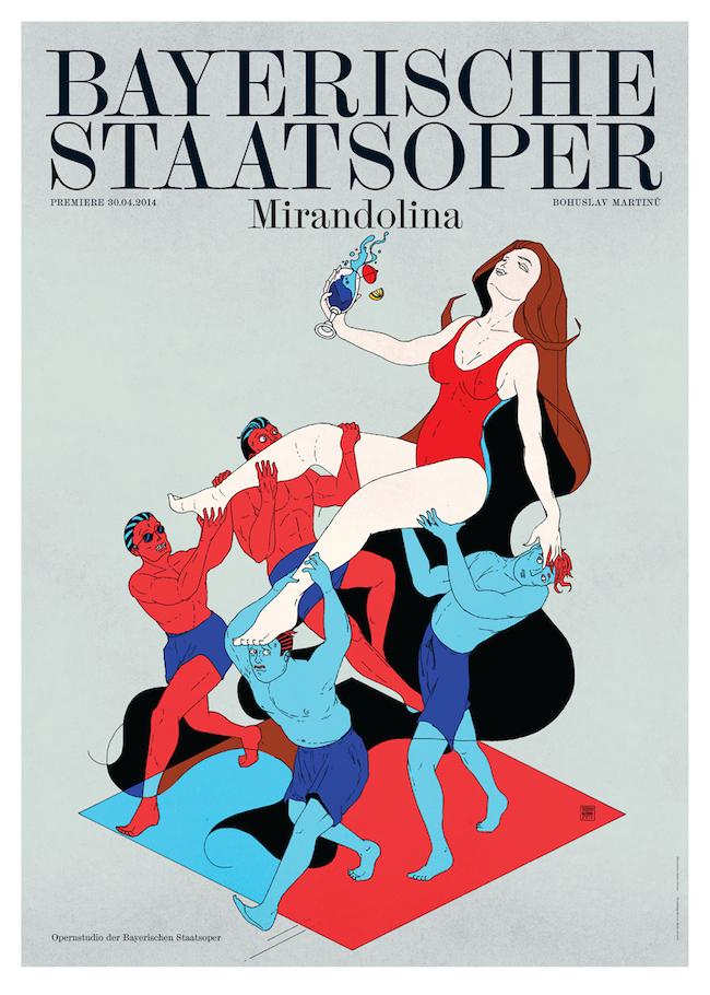 Premiereposter for the National Opera of Munich / Bayerische Staatsoper for Mirandolina.   Graphic design by  Bureau Mirko Borsche