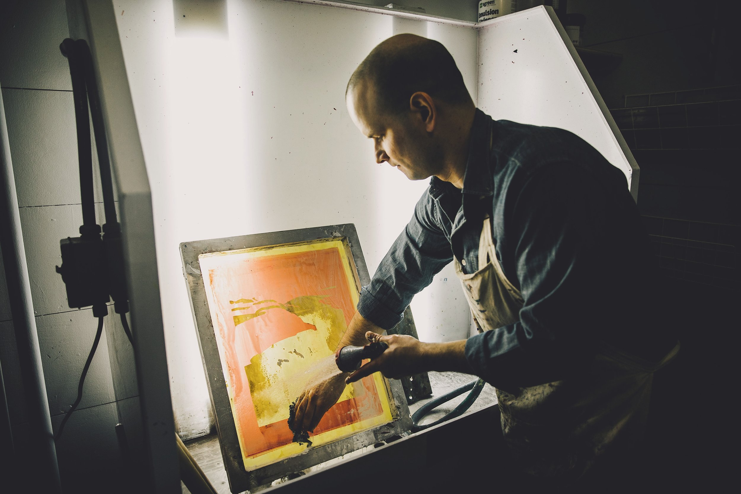 We make our own screens in our studio -