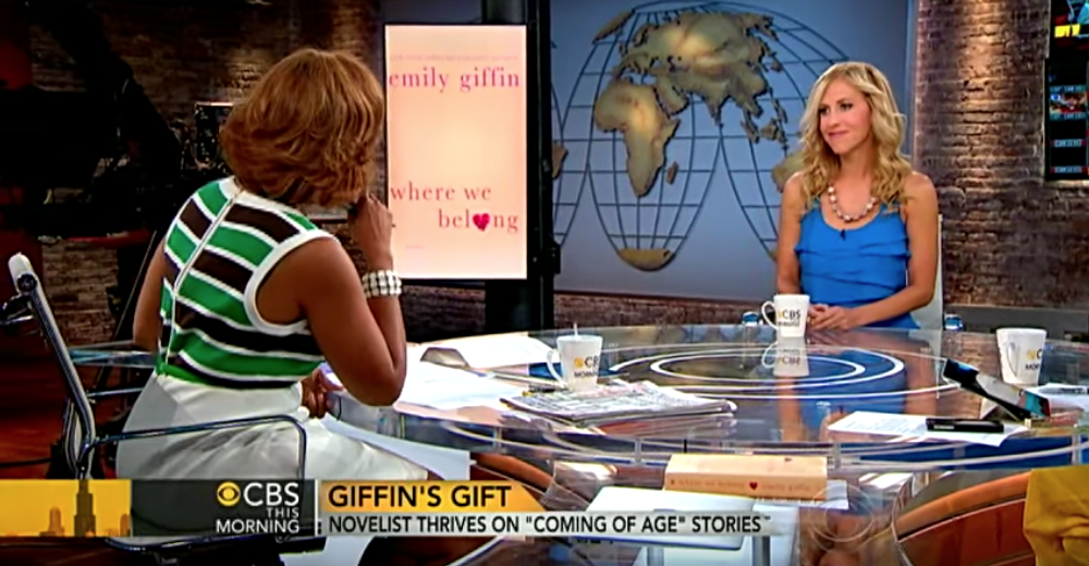 Emily Giffin has sold over nine million books telling coming-of-age stories of fictional characters. She spoke with Erica Hill and Gayle King about her latest effort,  Where We Belong . Watch the interview  here  on YouTube.