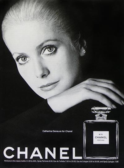 Developed by Ernest Beaux in 1921, Chanel No. 5 is still the world's most familiar fragrance. The great French actress, Catherine Deneuve was the spokesperson for the fragrance in the 70s.