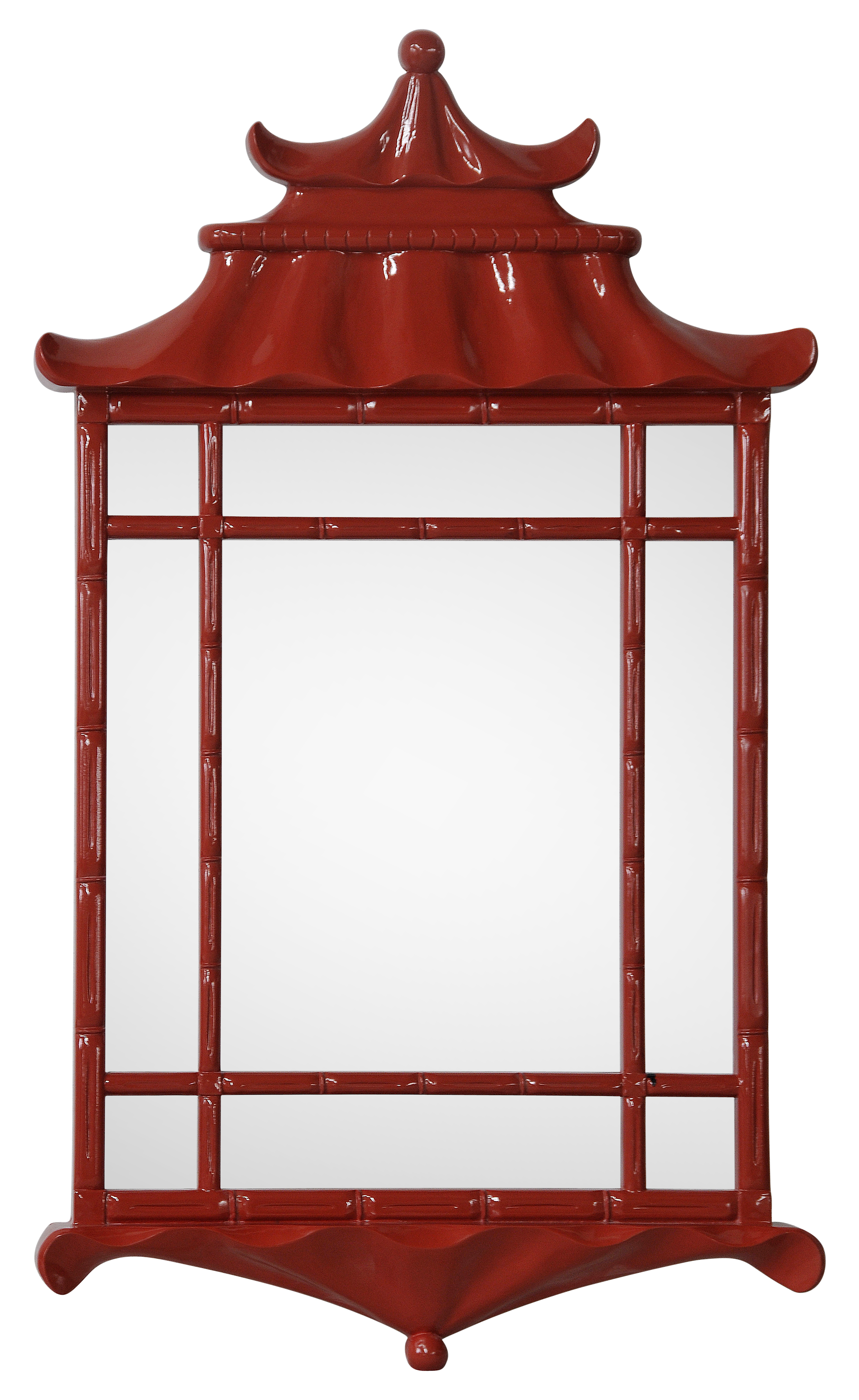 Bunny Williams's Pagoda Mirror for Mirror Image in high-gloss Chinese red.