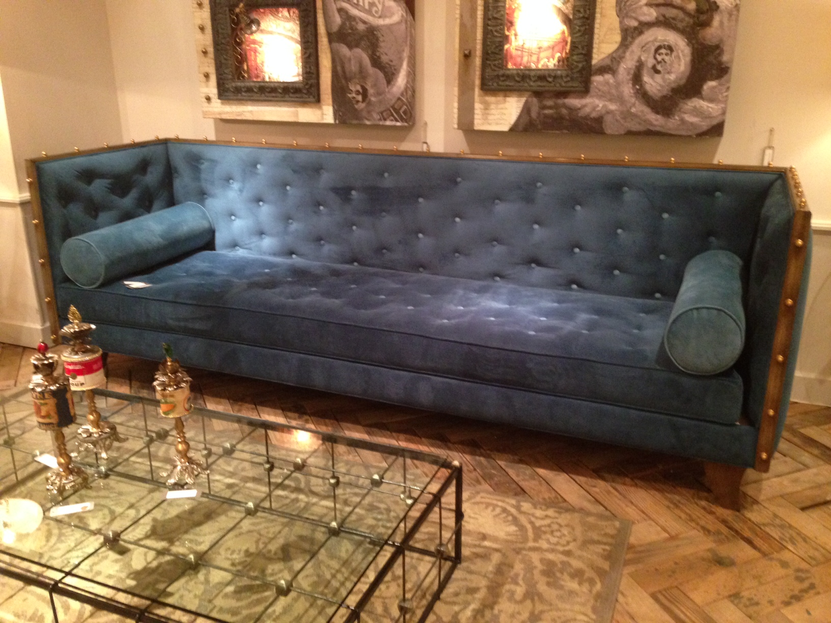 Gorgeous over-scaled peacock Sofa from Luna Bella. Perfect for a loft or a chic bar.