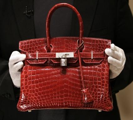Birkin handbag in glossy red crocodile leather