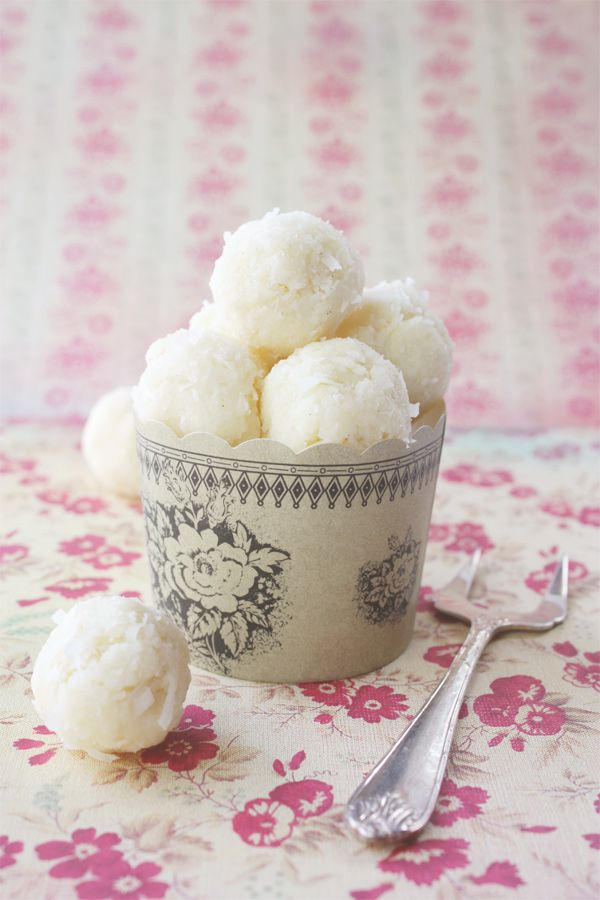 Coconut Truffles remind me of childhood and my favorite coconut bonbons.