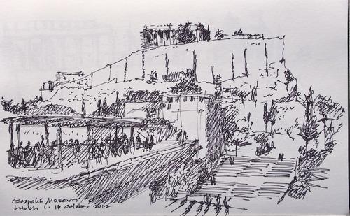 Le Corbusier's Sketch of The Acropolis, Athens, Greece