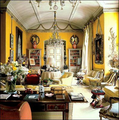 Nancy Lancaster's Iconic Yellow room at Colefax & Fowler, London