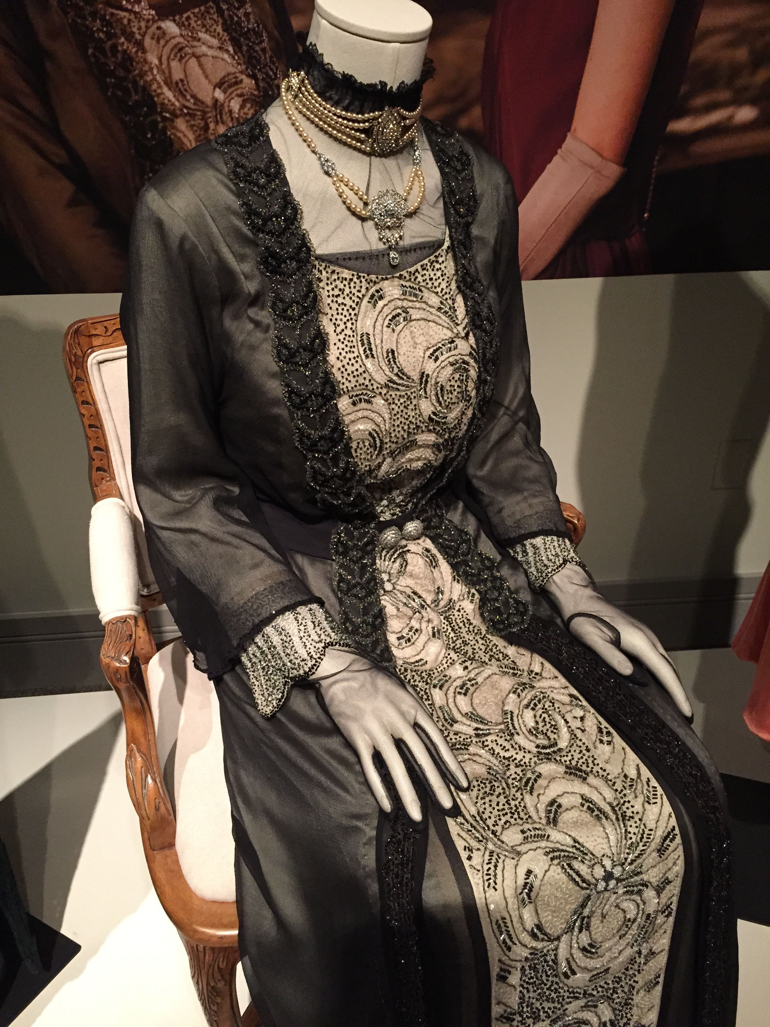 Formal evening dress worn by Dame Maggie Smith as the Dowager Countess of Grantham