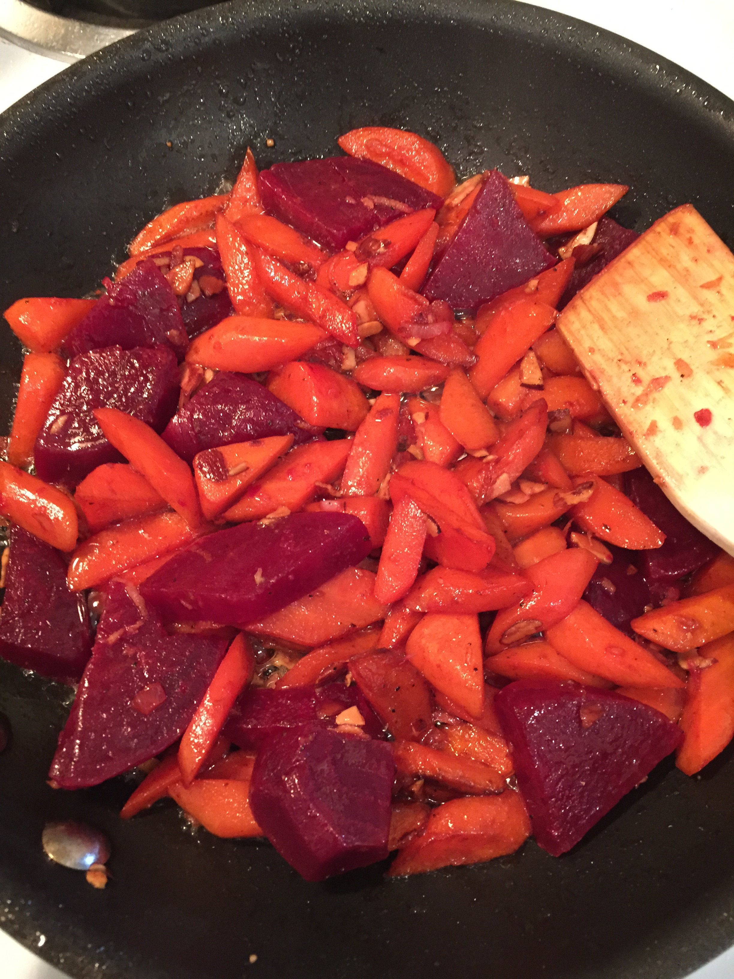 The glistening carrots and beets reminded me of jewels and the pleasure of cooking one's own meal can't be over-estimated.