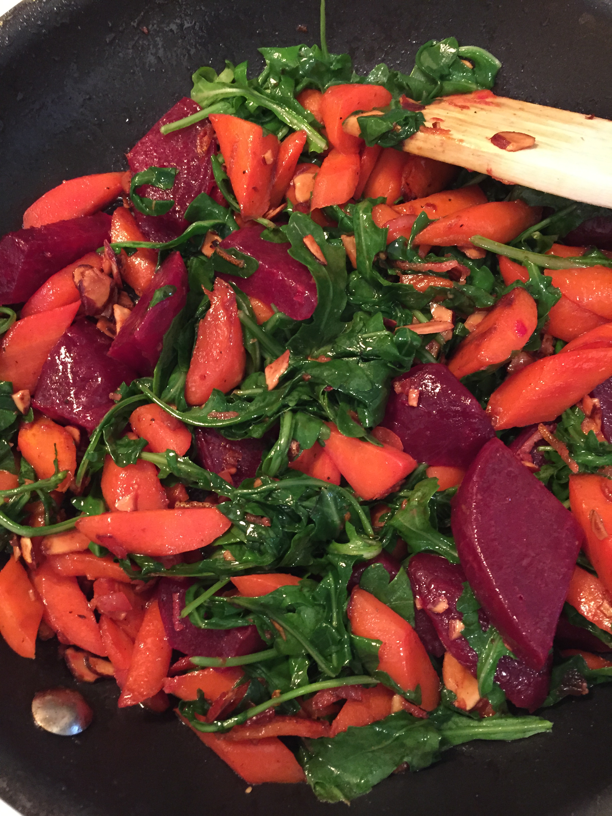 Beets, carrots, almonds, and fresh Arugula provided the perfect counter-balance of textures, colors, and flavors.