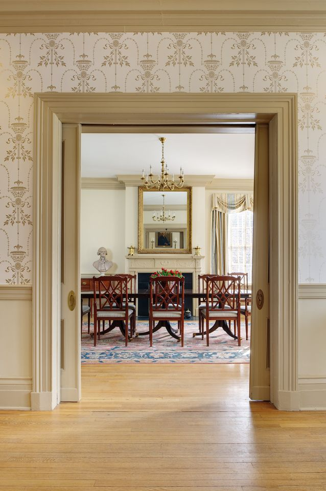 View of the main dining room, which now serves as a meeting space. Mr. Jefferson presides over all meetings.