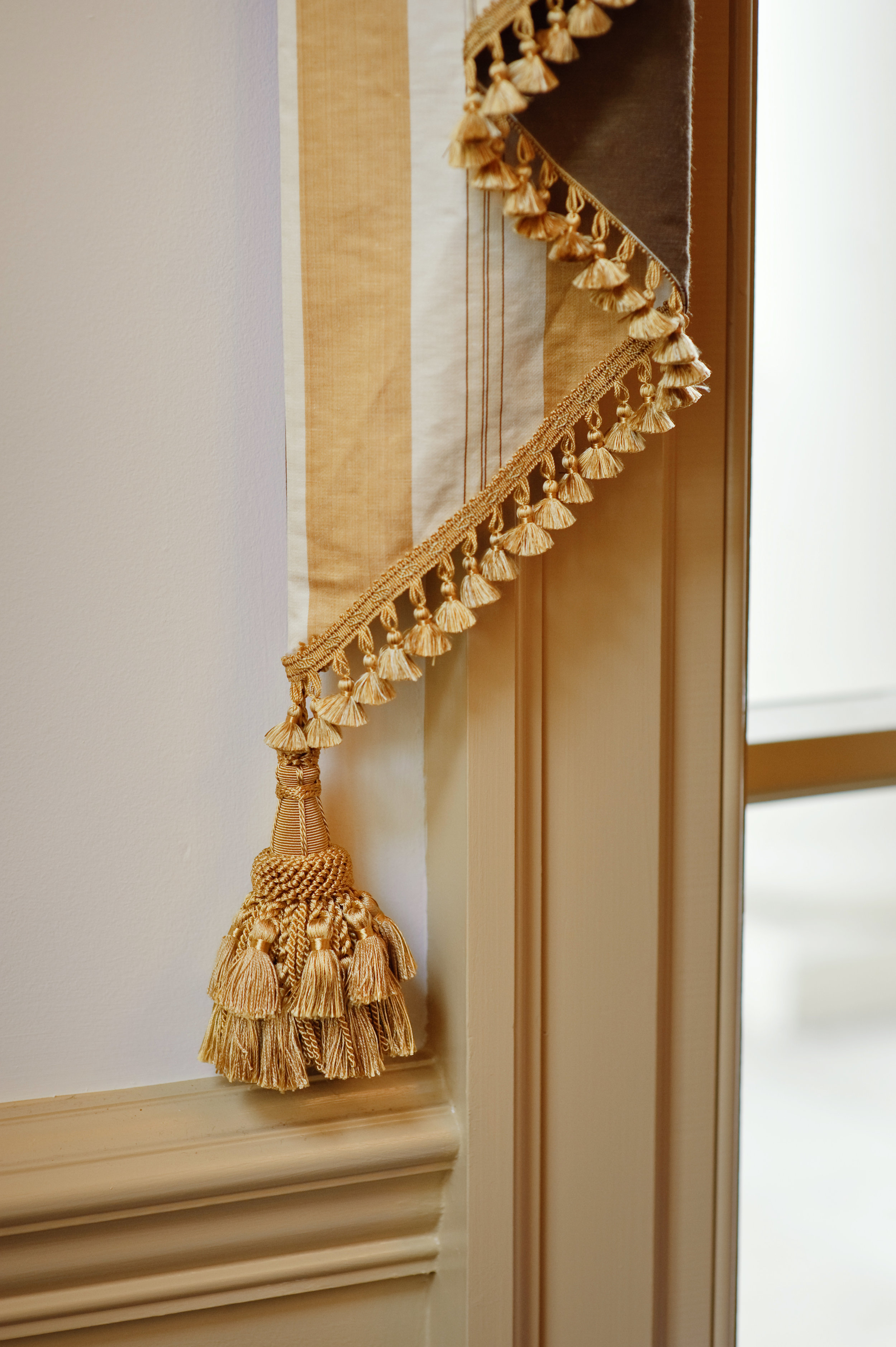 Silk fabric and tassel by Scalamandre Fabrics, one of the great fabric houses for more than a century.