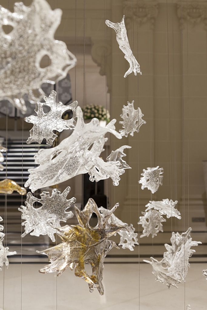 Concept for a glass installation over the grand staircase. This installation is by Lasvit Glass in the Peninsula Hotel in Paris.
